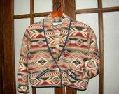 SALE! Vintage Carolina Colours Native Tribal Cotton Weave Waist Length Jacket