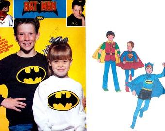 Superhero Costume Pattern Simplicity 8714, Batman, Robin, Superman + Bonus Batman Iron On, 1978 Vintage Sewing Pattern, Size 7 8 UNCUT