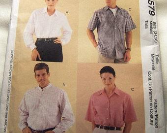 McCalls 9579 uncut  Men and womens classic shirt size 34, 36 medium tall