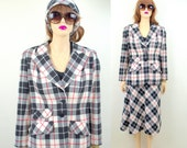 Plaid Skirt and Jacket 60's Dress Outfit Picnic Vintage Dress Suit 50's Skirt 50's Sweater 50's Skirt and Jacket Set Plaid Scarf 60's Skirt