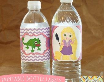Rapunzel Birthday Party Printable Bottle Labels PDF - Printable Party Supplies - Princess Party DIY
