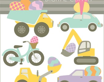 Easter Clipart Easter Egg Vehicles -Personal and Limited Commercial- Bulldozer, Dump Truck, Car, Bicycle Clip Art