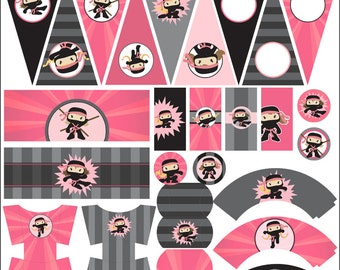 Ninja Birthday Party Printables PDF - Printable Party Supplies - Girl Ninjas Birthday DIY
