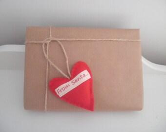 From Santa Gift Tag ~ Mini Handmade Red Felt Heart