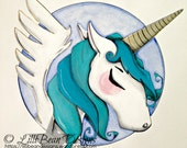 AQUA blue unicorn with golden wings + gold horn: a magical + whimsical ORIGINAL painting by LilliBean Designs FREE shipping