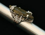 Green Rhinestone Ring Vintage Statement Ring Size 6.5 Cocktail Ring New Old Stock