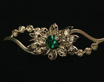 1940s Emerald Green Clear Rhinestone Pin Brooch Vintage Mothers Day Any Occasion