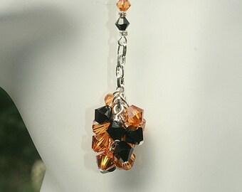 Black Topaz Chandelier Pierced Earrings Swarovski Crystals Handcrafted Handmade