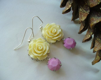 Ivory Rose Vintage Pink Drop Dangle Earrings, Floral Earrings, Floral Jewelry, Womens Jewerly, Silver Earrings, Flower Earrings