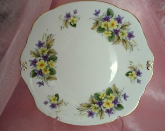 Vintage Plate Merrie England Bone China Violets and Primroses Shabby Cottage Chic Vintage
