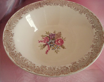 Vintage Shabby Serving Bowl E.M. Knowles Shabby Cottage Chic Semi Vitreous China