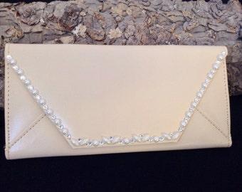Clutch Purse Wallet Bridal Wedding Graduation w/ Swarovski Crystal & Pearls Change Coin iPhone Rhinestone Case Envelope Gift