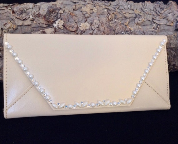 Clutch Purse Wallet Bridal Wedding Graduation w/ Swarovski Crystal & Pearls Change Coin iPhone Rhinestone Case Envelope Gift