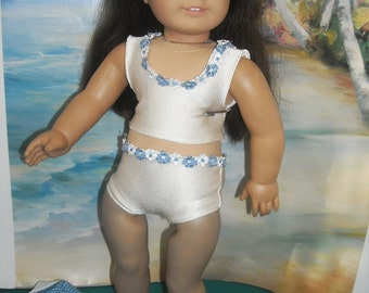 """American Girl, 18"""" Doll White Swimsuit with Blue  Beach Jacket and Accessories"""