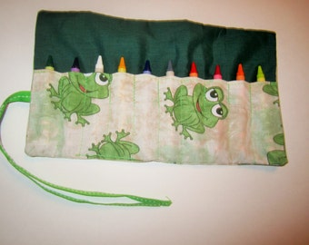 Frog crayon roll - holds 10 crayons, party favor, crayon holder, crayon wallet