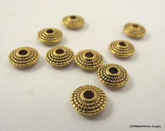 20 Golden Geometric Saucer Beads, Golden Pewter Rondelles, 8 x 3 mm