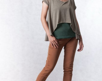 NO.165 Moss and Olive Sheer Knit Tee, Double Layered Top, Women's Top