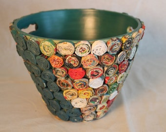 Unique, hand-crafted flower pot. Folk art wooden pot. Paper craft pot. Colorful pot/planter.