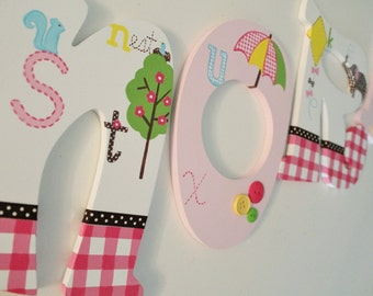 Animal Alphabet ABC Pink Gingham Wooden Nursery Letters