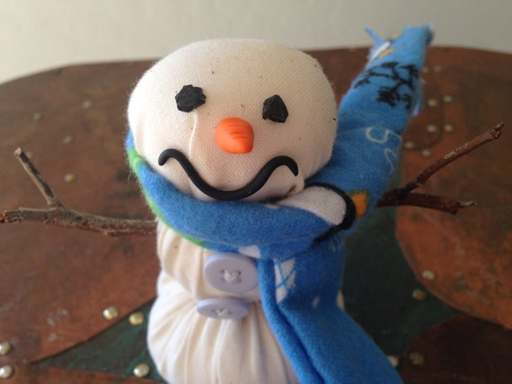 Snowman Decor Handmade of Cotton with a Flannel Handsewn Scarf, Winter Decor, Snowman