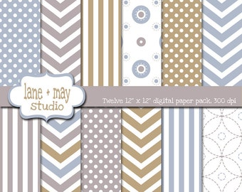 digital scrapbook papers - neutral blue, gray and sand chevron, polka dot and stripe patterns - INSTANT DOWNLOAD