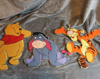 Vintage set of 3 Winnie The Pooh, Tigger, Eeyore, Disney Baby Nursery Wall Decor, wall cut outs