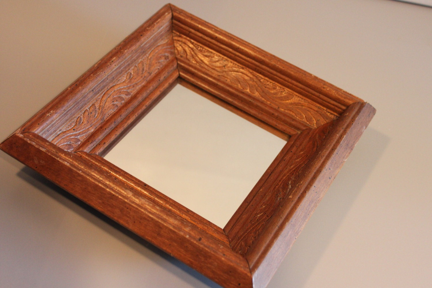 Small square rustic carved wood mirror framed by for Small wood framed mirrors