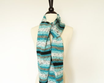 Wide Hand Knit Scarf Turquoise Black Gray White