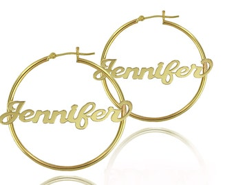 14K Gold Filled - Personalized Name Earrings - Large Hoop Earrings with Hand Made Name