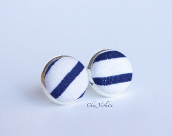 Nautical striped tiny stud earrings / Summer beach jewelry / Blue and white earrings stud / button earring