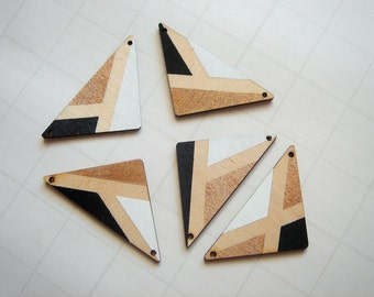 Wood Triangles,Hand painted  Wood Pendants,Do it Yourself  necklace