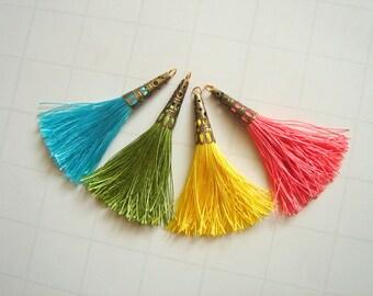 Tassel Charms, Silk Tassels Set, Jewelry Making Tassels,  Handmade Tassels