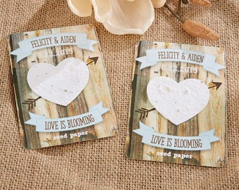 Seed Paper Personalized favors -rustic hearts design set of 12 personalized bridal shower favor, wedding favor, plantable paper favor