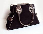 Black Leather Satchel Bag, Suede Handbag, Black Shoulder Bag, Business Bag, Elegant Handbag
