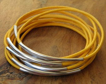 Leather bracelet Bahia Del Sol - color yellow