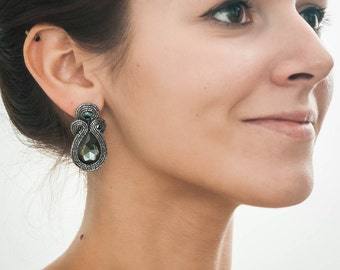 Crystal drop earrings. Black and sparkle jewelry. Top trending gift for her.