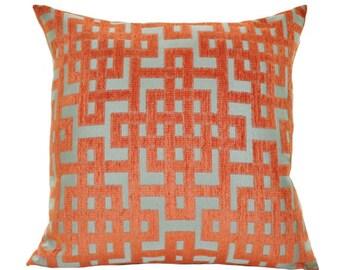 Decorative Throw Pillow - Orange Aqua Turquoise Geometric Greek Key Trellis Designer Cover - Throw Pillow - Motif Pillow