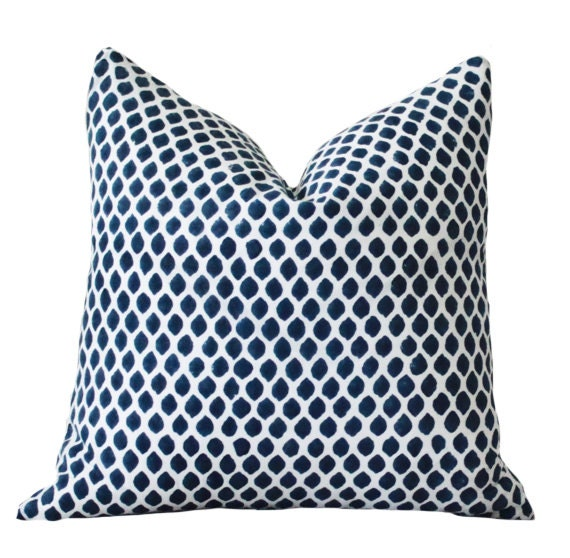 blue white ikat indigo designer pillow blue by motifpillows. Black Bedroom Furniture Sets. Home Design Ideas