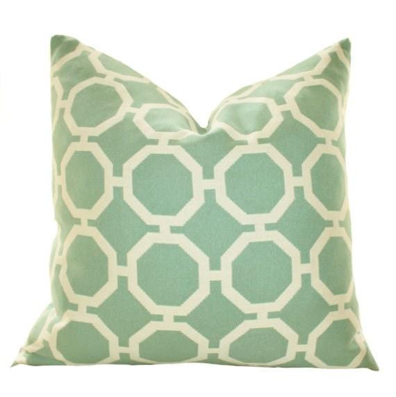 Green Geometric Throw Pillow : Decorative Designer Pillow Aqua Green Geometric by MotifPillows