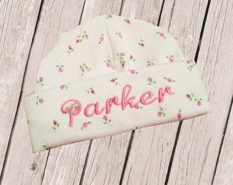 Personalized Newborn Hospital Baby Hat -Pink Rosebud Design