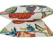 Two Schumacher Hothouse Flower Pillow Covers with Teal Piping