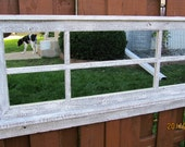 RESERVED for Anna - Whitewashed Barnwood Window Mirror with Shelf