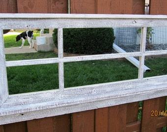 Whitewashed Barnwood Window Mirror with Shelf