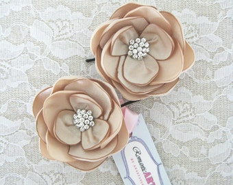 Champagne Bridal Hair Piece. Champagne Flower Set of 2. Bridal Hair Accessory.
