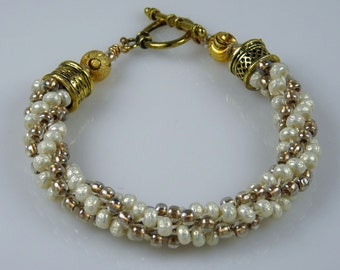 ROYAL GOLD and IVORY Kumihimo Bead Woven Brccelet with Gold Toggle Clasp