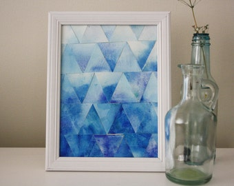Blue Ombre Watercolour Triangles Painting