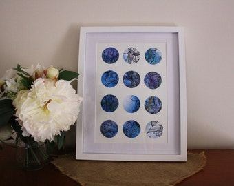 Blue Zentangle Circle Collage Print
