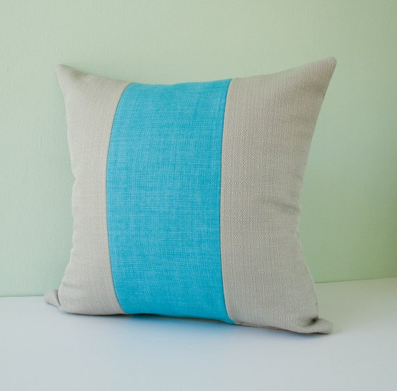 Modern Teal Decorative Throw Pillow : Teal grey striped pillow cover decorative pillow throw