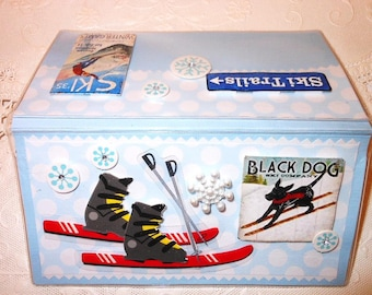 Skiing Snow Skiis Snowflakes Blackdog Scrapbooked Checkbook Cover -with Vinyl Case