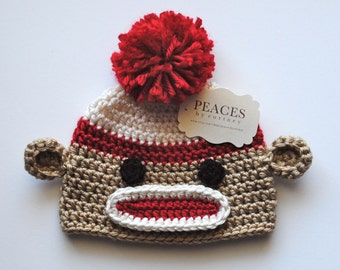 Sock Monkey Baby Hat (Beanie Hat Baby Hats Baby Gifts Newborn Hat Crochet Baby Hat Newborn Hats)